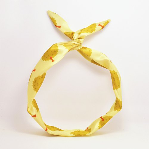 This original handmade durian print rabbit ear band