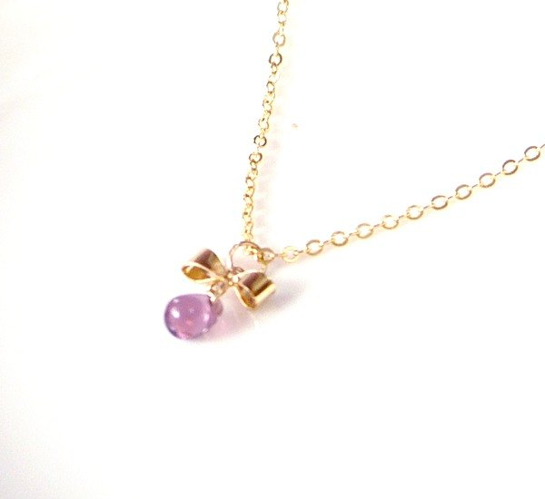 SL256 Light you up fine grapes Bow Necklace