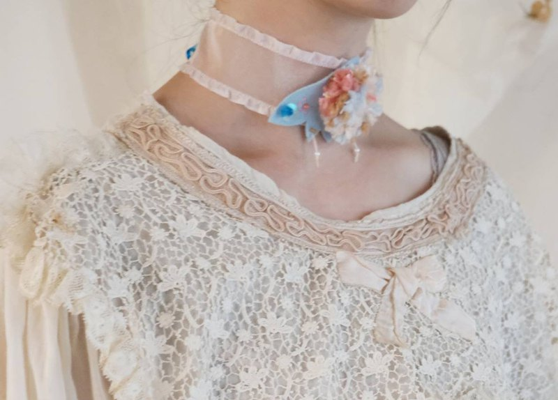 Embroidered Hair Ball Light Blue Moth Ribbon Necklace