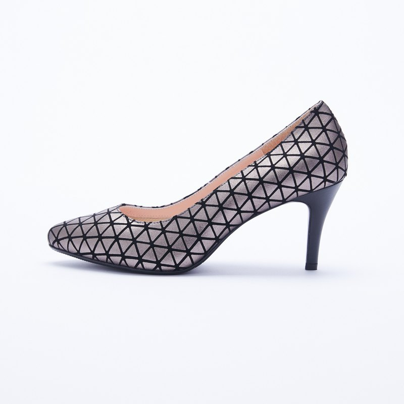 Large size women's shoes 41-44 Taiwan made geometric pattern leather cushion pointed high heels 8cm gun color