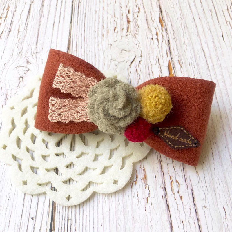 Hair flower shape bow spring clip / brick red