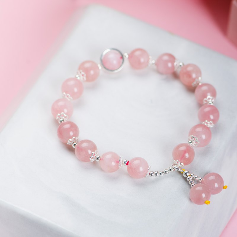 Rose Quartz Bracelet, 925 Sterling Silver Natural Gemstone Crystal Bracelet