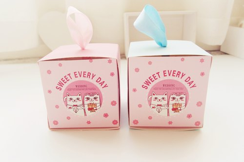 European sweet happiness meow drawer wedding small box