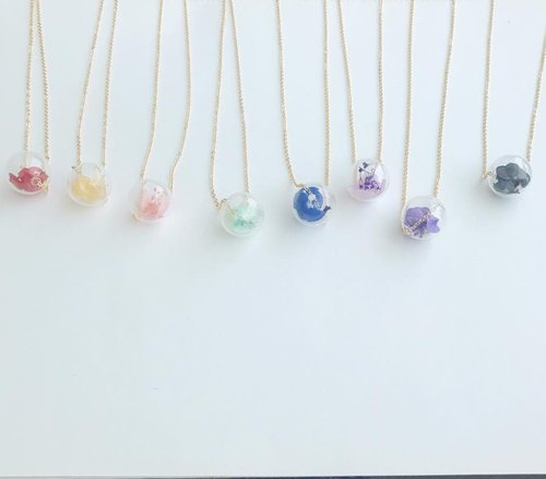 Goody Bag Set of 8 preserved flower necklaces glass ball Christmas Bridal Shower Gift