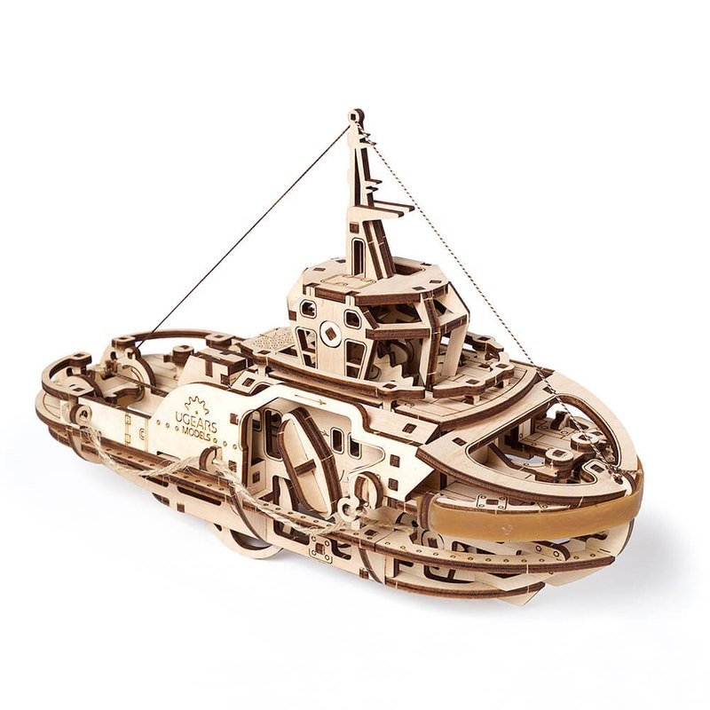 /Ugears/ Ukrainian wooden model Theodore tug Tugboat