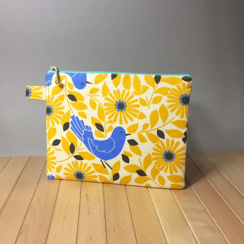 Adoubao-Universal bag storage bag zipper bag cosmetic bag - yellow flower & blue bird