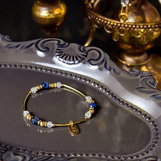 <Slow temperature natural stone> C1243 blue crystal white moonlight brass bracelet // Manchester by the sea