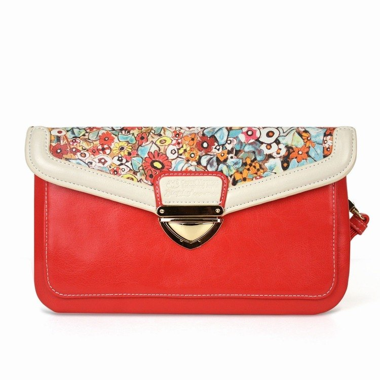 Red floral cute art print design handbag / cosmetic bag SB093-BI