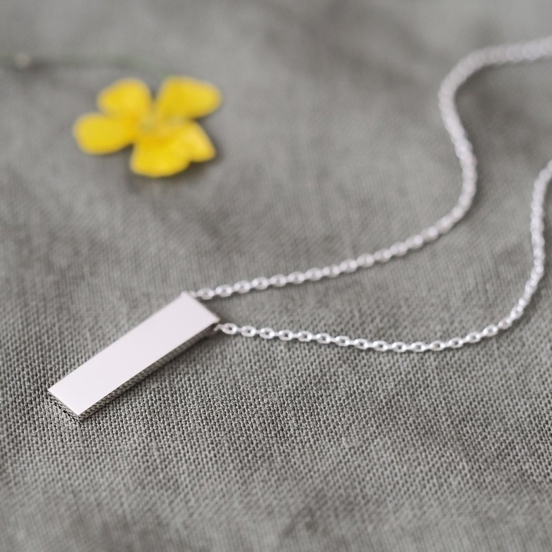 Minimal bar rectangle Necklace Silver925