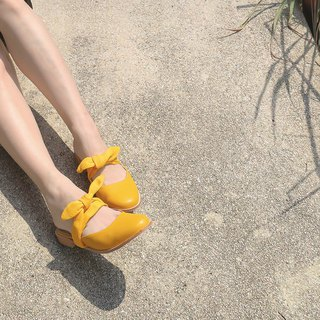 Exchangeable Ribbon Sandals - Yellow