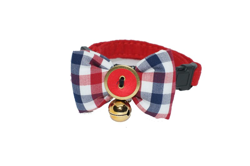 Pet Collar College Plaid Cat Bow Tie S/M