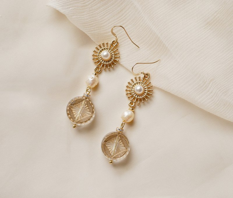 Sun Maiden's ray carved totem Baroque pearl earrings (can be clipped)