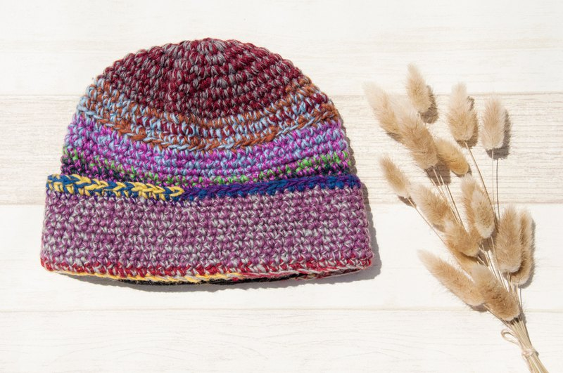Woven pure wool cap / knit hat / knitted fur cap / inner brush hair hand-woven wool cap / wool cap - grape cake