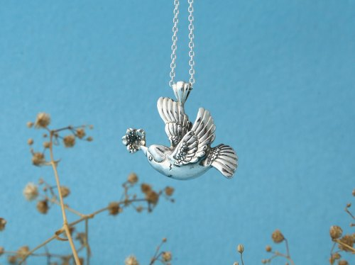My Sweetie hand-made sterling silver necklace / Spring Bird / title cherry Primula / handmade silver necklace spring bird with cherry blossom