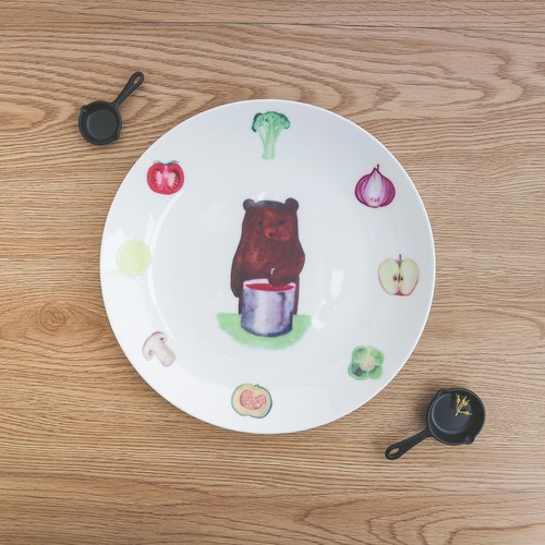 "8 ""Porcelain Plate - Chef Bear / Bear / Bear / Dinner Plate / Plate / Birthday Gift / Customizable Name / Microwave / SGS"
