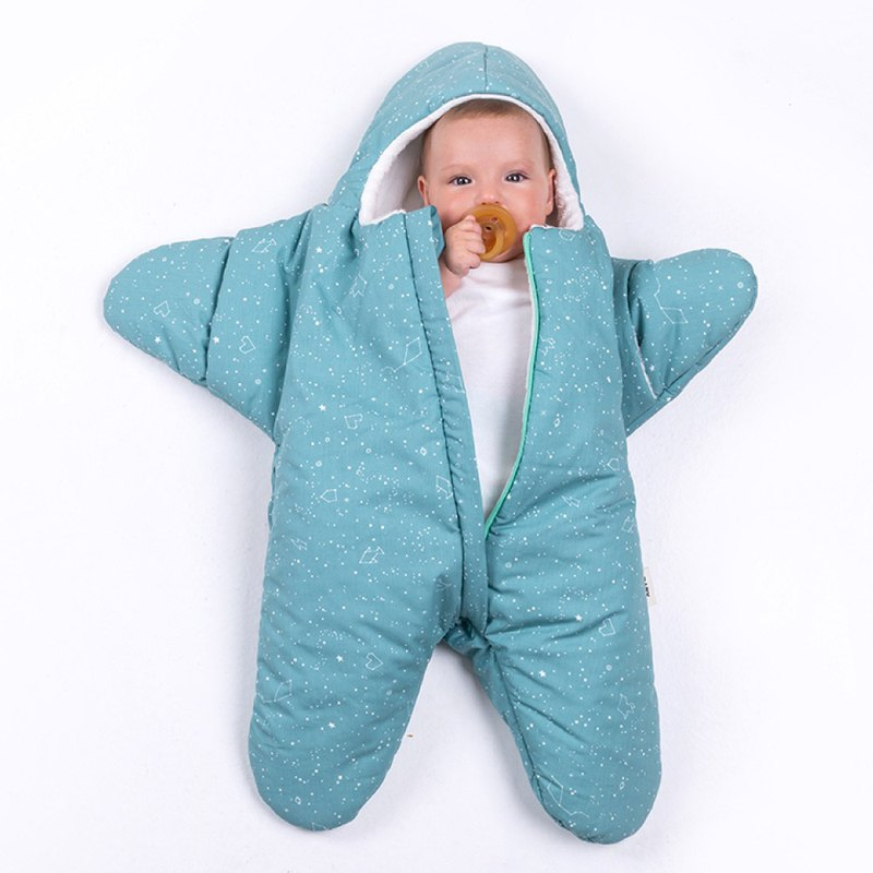 [Spanish] Shark bite BabyBites cotton baby sleeping bag - gem green small starfish