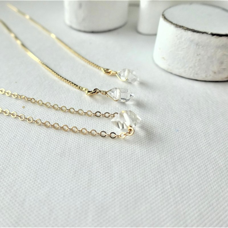14kgf♡AAA Herkimerdiamond one stone necklace