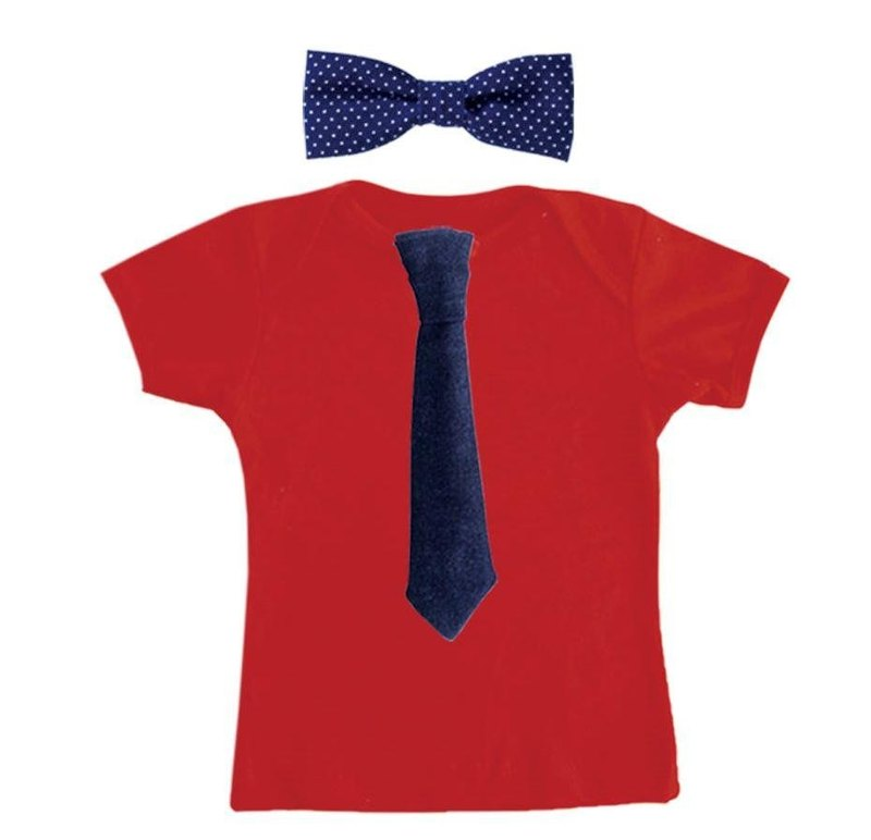 Mr. Tie Red T-shirt Tie Set (Denim Tie + Dot 啾啾)