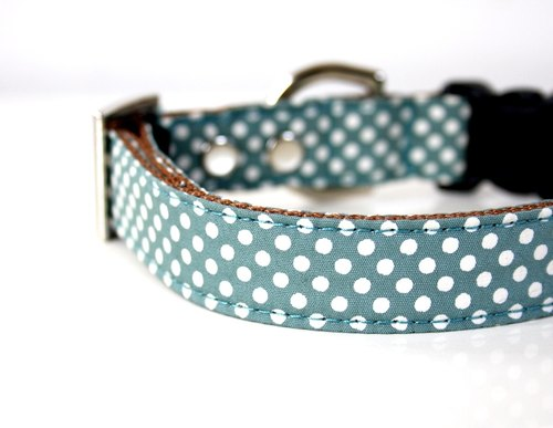 Moss green simple dot small dog collar S size