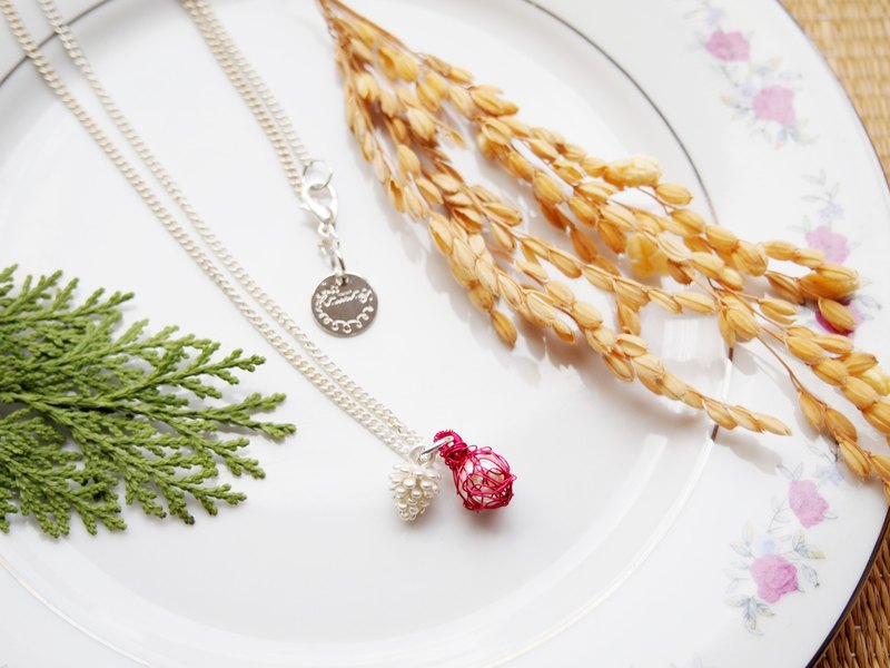 French hand-woven red copper ball with artificial pearl and silver-gold pine cone pendant necklace P039