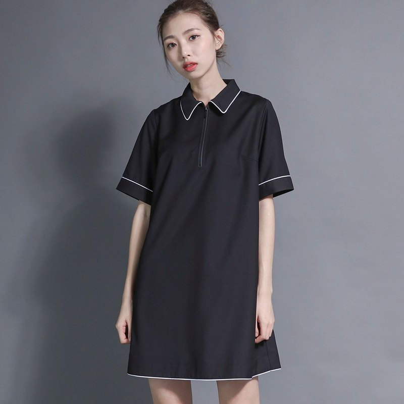 Linear Linear Bud Zipper Dress_7SF020_Black