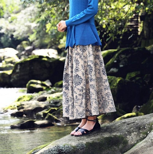 [Throw] cloth clothing Spring Hill, cotton printed A-line skirt original design