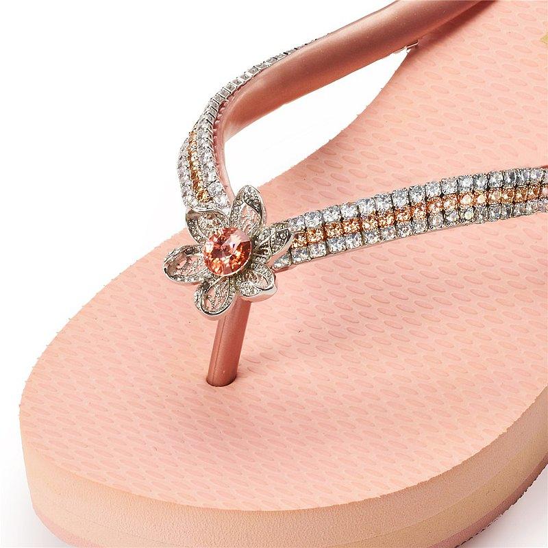 女款3cm厚底夾腳拖鞋-頂級首飾工藝水鑽-Flower桃鑽白鍊 粉金