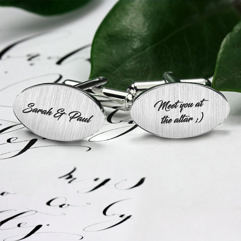 Engraved Cufflinks, Personalized Cufflinks for groom, Wedding Cufflinks silver