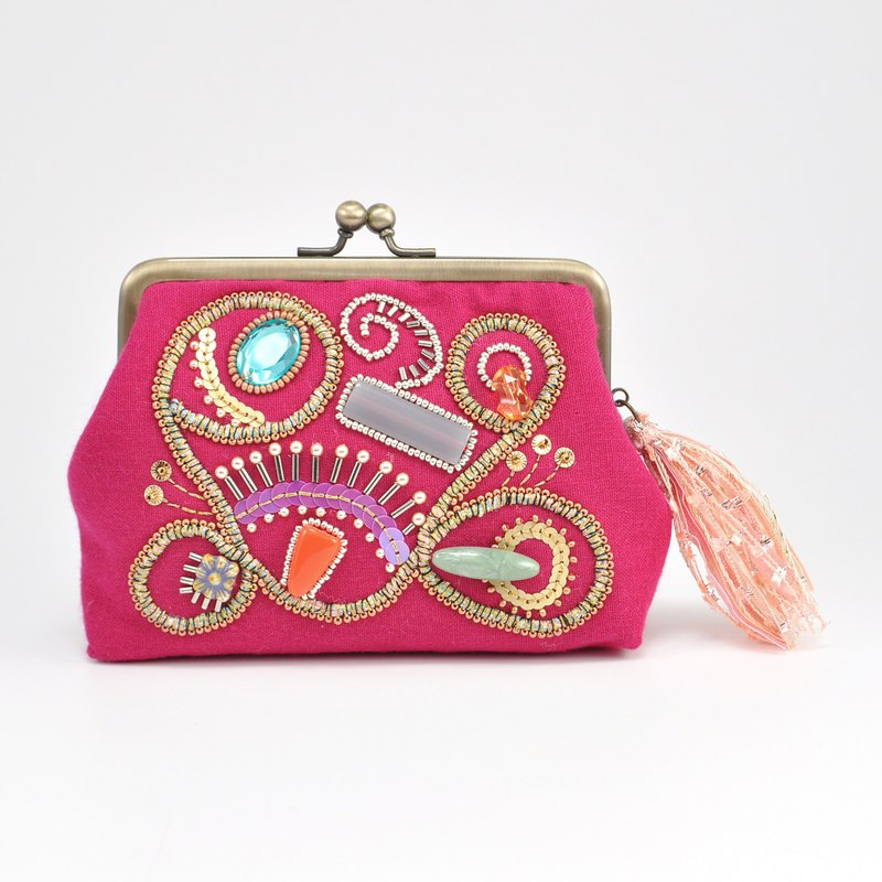 Sparkle and statement wallet, embroidered pink purse, one of a kind wallet