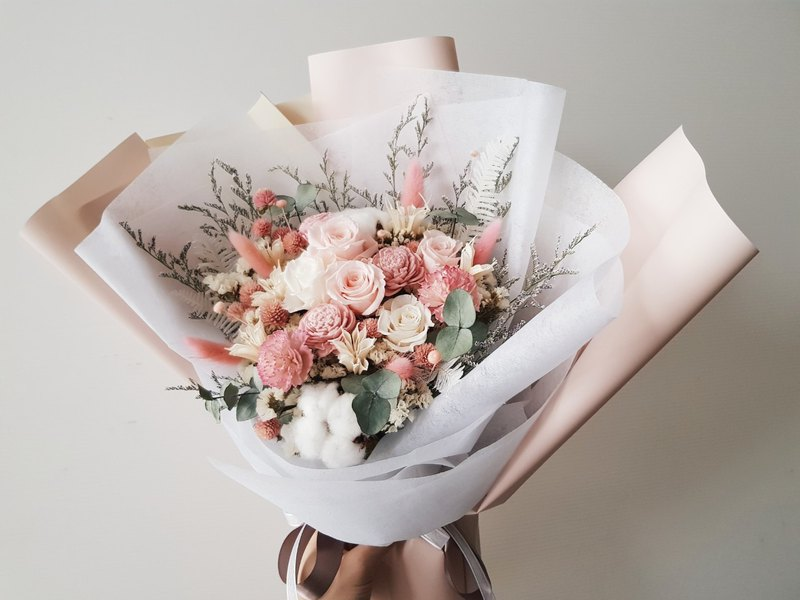 Everlasting flower + dry flower │ pink rose bouquet │ welcome to take │ distribution limited Taipei area