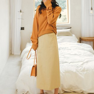 Girlish style orange solid color split round neck sweater