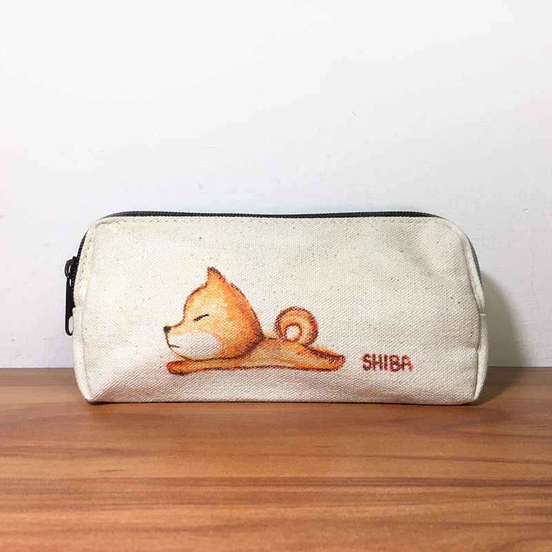 Pencil case hand drawn illustration Shiba Inu
