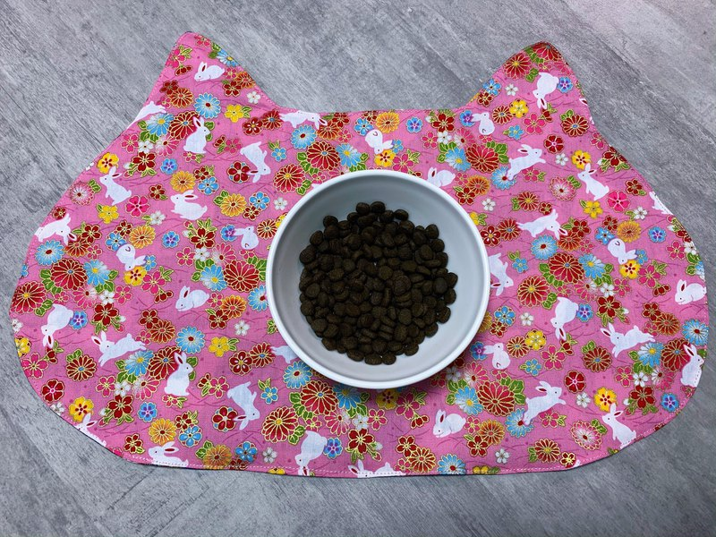 New year style  pink golden silk flower with cute bunny  cat placemat