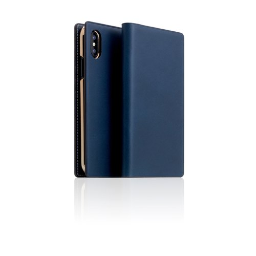 SLG Design iPhone X D7 IBL exquisite collection section top leather side flip leather case - blue