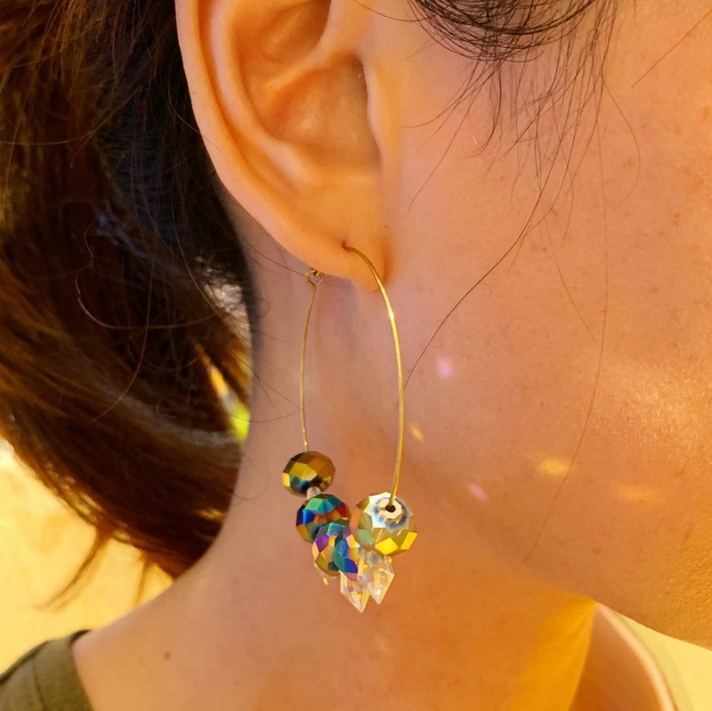 Large lap + color crystal transparent enamel crystal copper earrings _ free modification into clip earrings