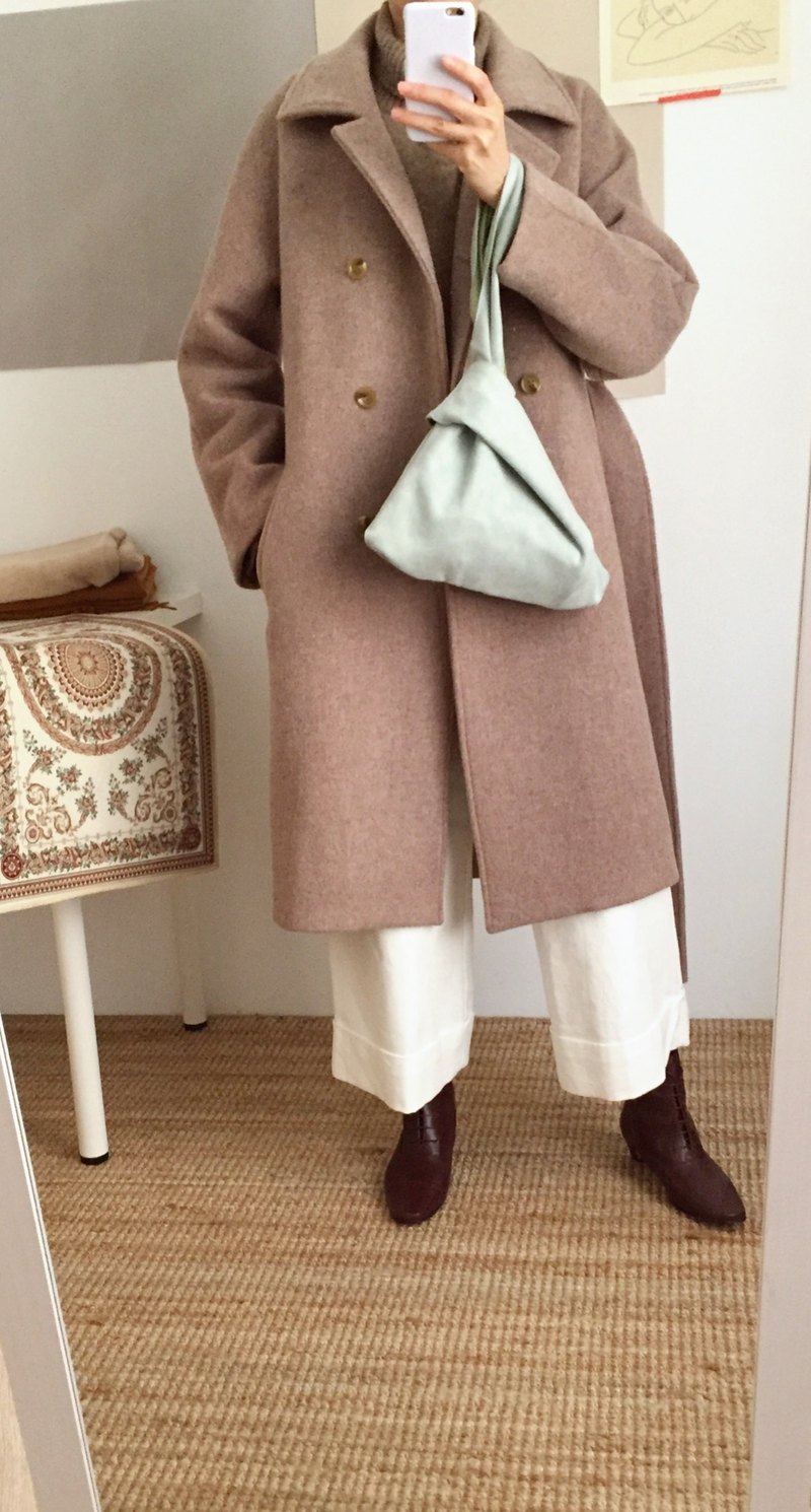Costuras Coat Mocha Kashmir Wool Coat (can be ordered in other colors)