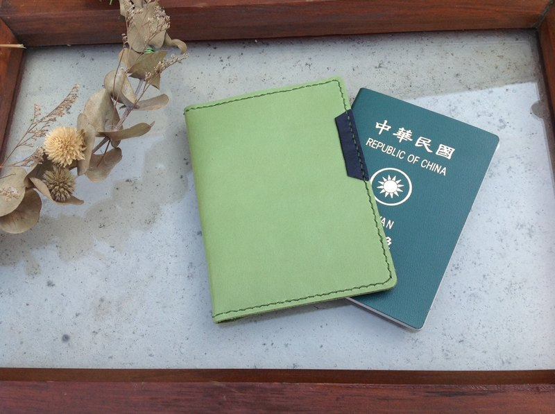 Passport holder, passport book, hand-stitched, leather, light green