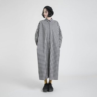 Sequence sequence plaid shirt dress _8AF108_ black and white