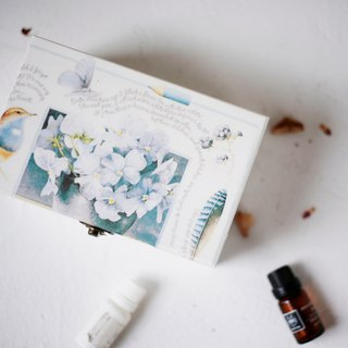 [Love wood] embroidery flowers essential oil wood box James pen ink 15 cells 15ml essential oil wooden box