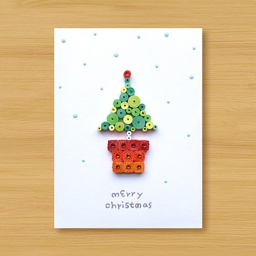Handmade paper roll stereo card _ Christmas greeting small potted merry christmas_C ..... Christmas card, Christmas tree