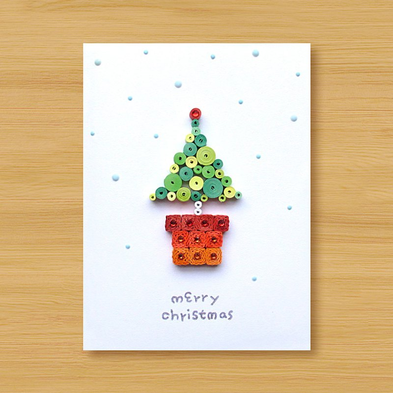 Hand-rolled paper stereo card _ Christmas wishes small pot merry christmas_C