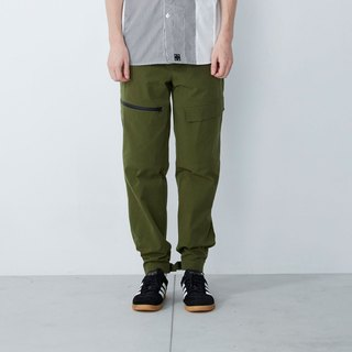 Stretching exercises - waist adjustable trousers - military green