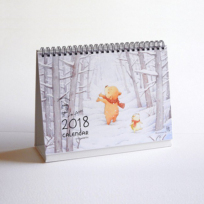 2018 Bagel hand-painted illustration desk calendar - the beginning of the snow