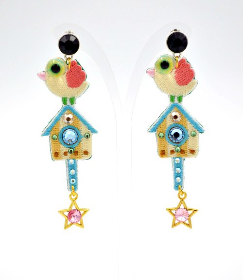 Embroidered Stereo Eye Bird House Earrings Swarovski Crystal Decoration