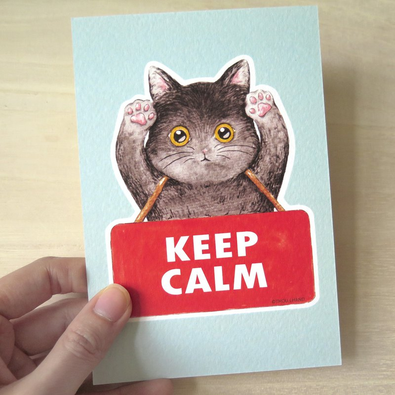 Cat keeps KEEP CALM postcard