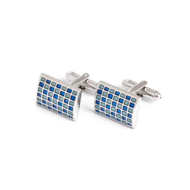 Kings Collection Blue Rhinestones Rectangle Cufflinks KC10022 Blue