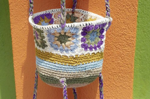Birthday gift Mother's Day gift Tanabata gift limited a handmade crocheted basket / hand woven basket / storage basket / hanging bag / nest woven basket / flower woven basket - rainbow stripes macarons purple lavender forest flower weaving