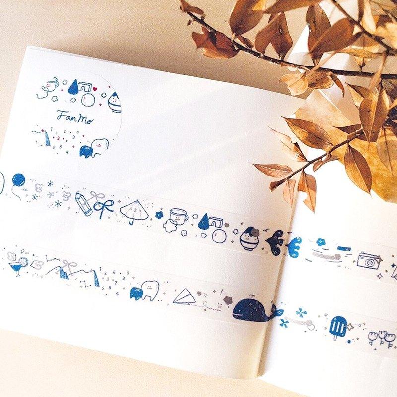 復古藍 / 印銀墨紙膠帶