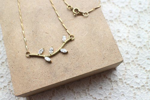 Zircon brass handmade necklace