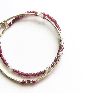 Red garnet and labradorite sterling silver double tube bracelet
